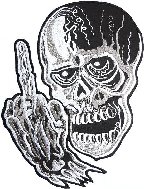 Dämon Schädel Mittelfinger Stinkefinger Skelett Finger Outlaw Cafe Rennfahrer ächten Reiter Motorradfahrer Hubschrauber Motorrad Iron On Sew On Aufnäher Bügelbild Rückenaufnäher Big Xl Back Patch 27 5cm Auto