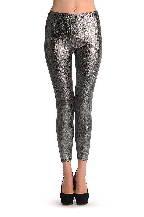 155374dabe77f Shiny Silver Wood - Silver Designer Leggings: Amazon.co.uk: Clothing