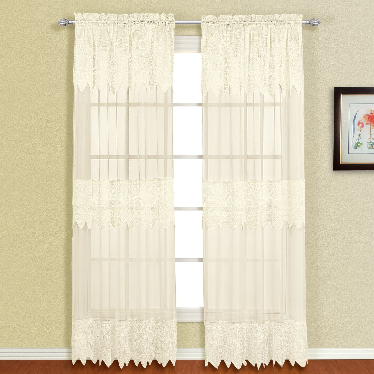 American Curtain and Home Patricia Window Curtain, 52-Inch by 84-Inch, Natural