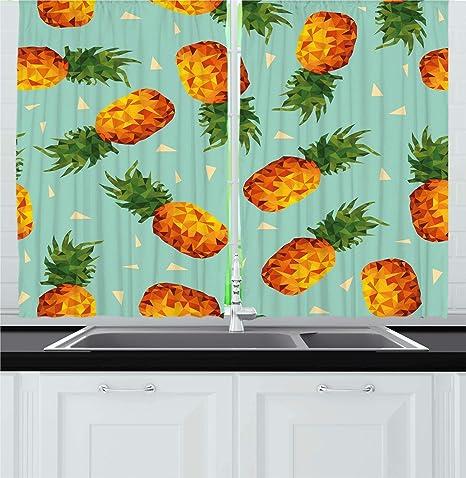 Amazon Com Ambesonne Retro Kitchen Curtains Poly Style Pineapples Motif Vintage Beach Summer Modern Illustration Window Drapes 2 Panel Set For Cafe Decor 55 X 39 Seafoam Orange Home
