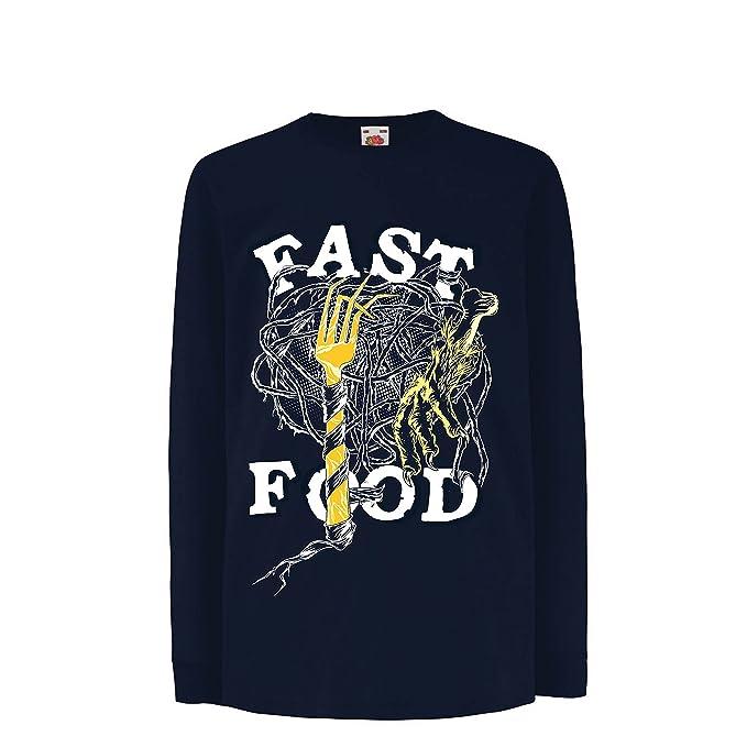 lepni.me Niños/Niñas Camiseta Comida Rápida - Eslogan Sobre el Diseño del Amante de La Comida Basura, Vegetariano/Vegano/Estilo de Vida Saludable: ...