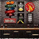 Kit 6 Placas Decorativas Frases Bebidas Bar Cervejas Seta