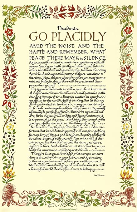 photograph about Desiderata Printable identify Intended Inside of United states of america 11 x 17 Poster Calligraphy Wildflowers Desiderata