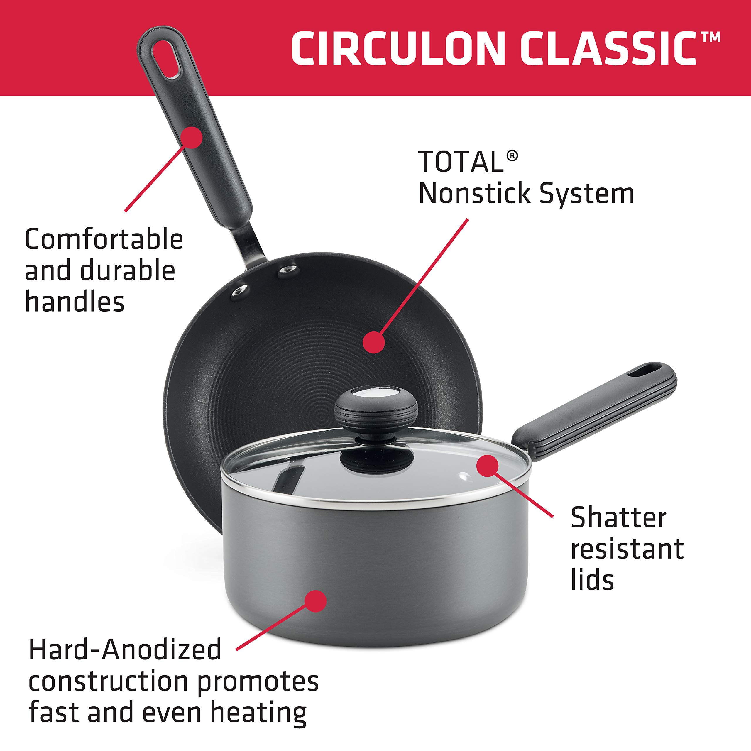 Circulon Classic Hard-Anodized Nonstick Cookware Set, 12-Piece, Gray by Circulon (Image #2)