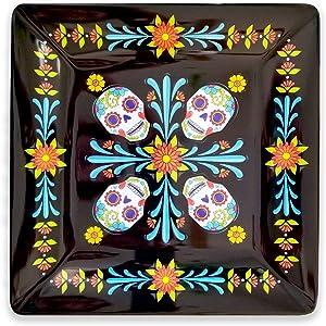 Day of the Dead- Serving Platter- Sugar Skull Decor- 11x11 inch Square Melamine plate - Dia de Los Muertos Decorations- Plastic Serveware Dish- Original Artwork