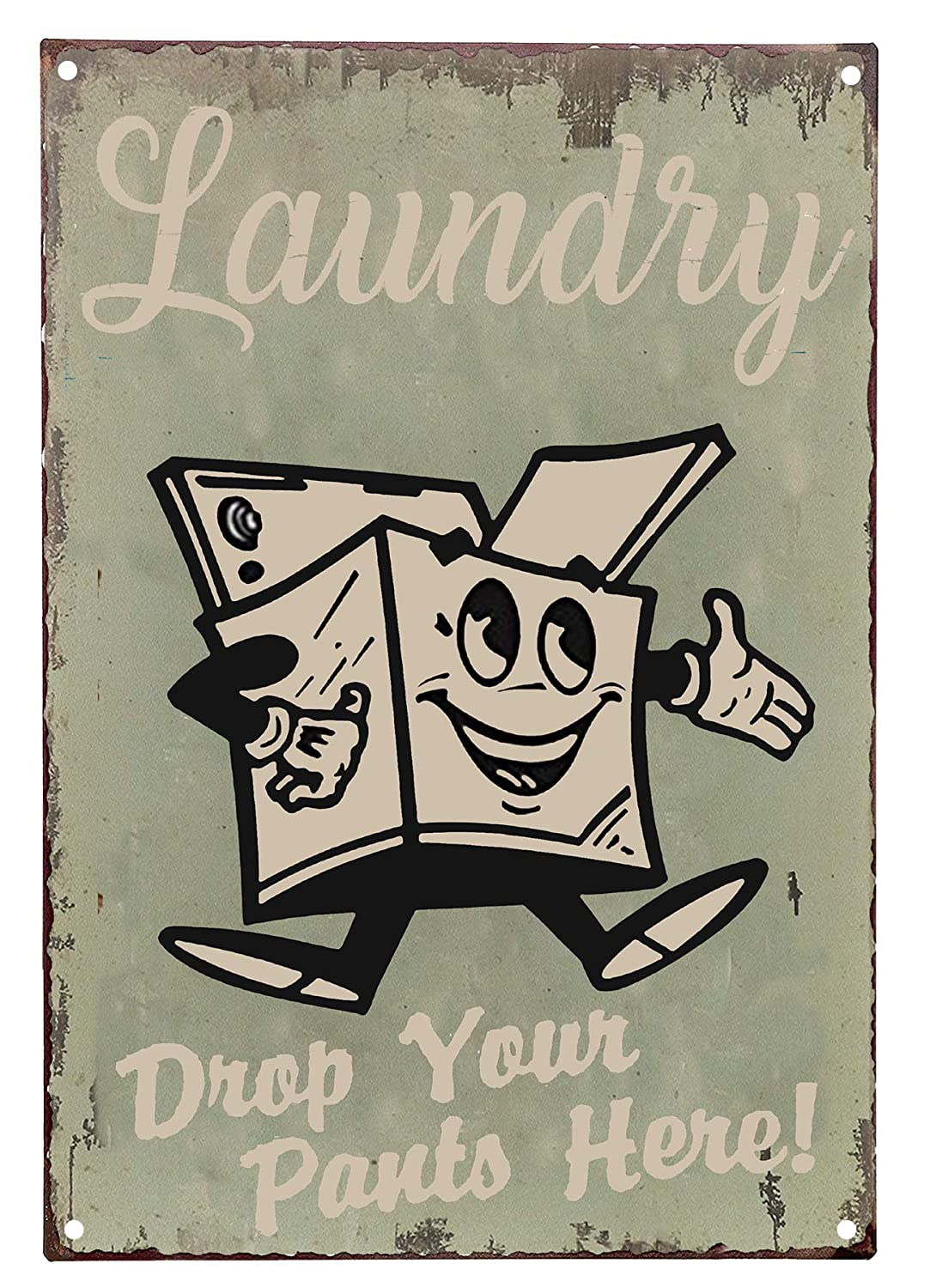 SKYC Laundry Drop Your Pants Here Vintage Retro Metal Sign Home Bathroom Laundry Decor Wash Room Signs 8X12Inch