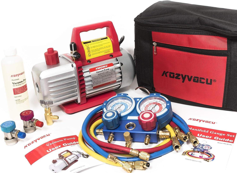 Kozyvacu AUTO AC Repair Complete Tool Kit with 1-Stage 3.5 CFM Vacuum Pump, Manifold Gauge Set, Hoses and its Acccessories