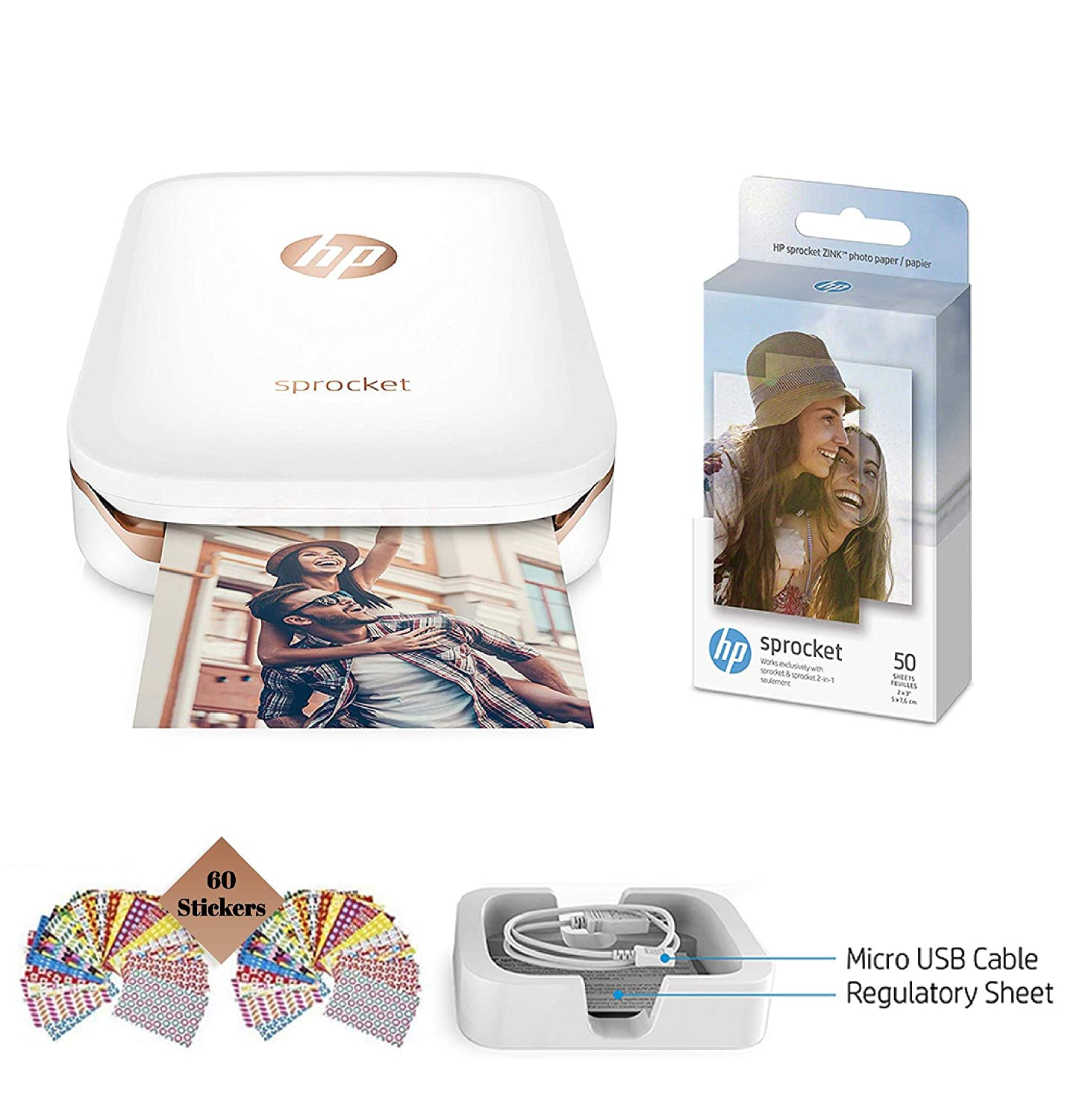 HP Sprocket Photo Printer, Print Social Media Photos on 2x3 Sticky-Backed Paper (White) + Photo Paper (60 Sheets) + USB Cable + 60 Decorative Stick-On Border Frames