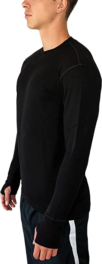 Heavyweight Baselayer Crew Shirt for Extreme Warmth Mens Merino Wool Base  Layer Top WoolX Glacier Active Active Base Layers