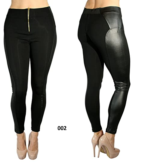 574bfd1d3f3dc4 Yelete Liquid Faux Leather Jegging Legging Skinny Pencil Tights Pants -  Shade Type 002 - Waist