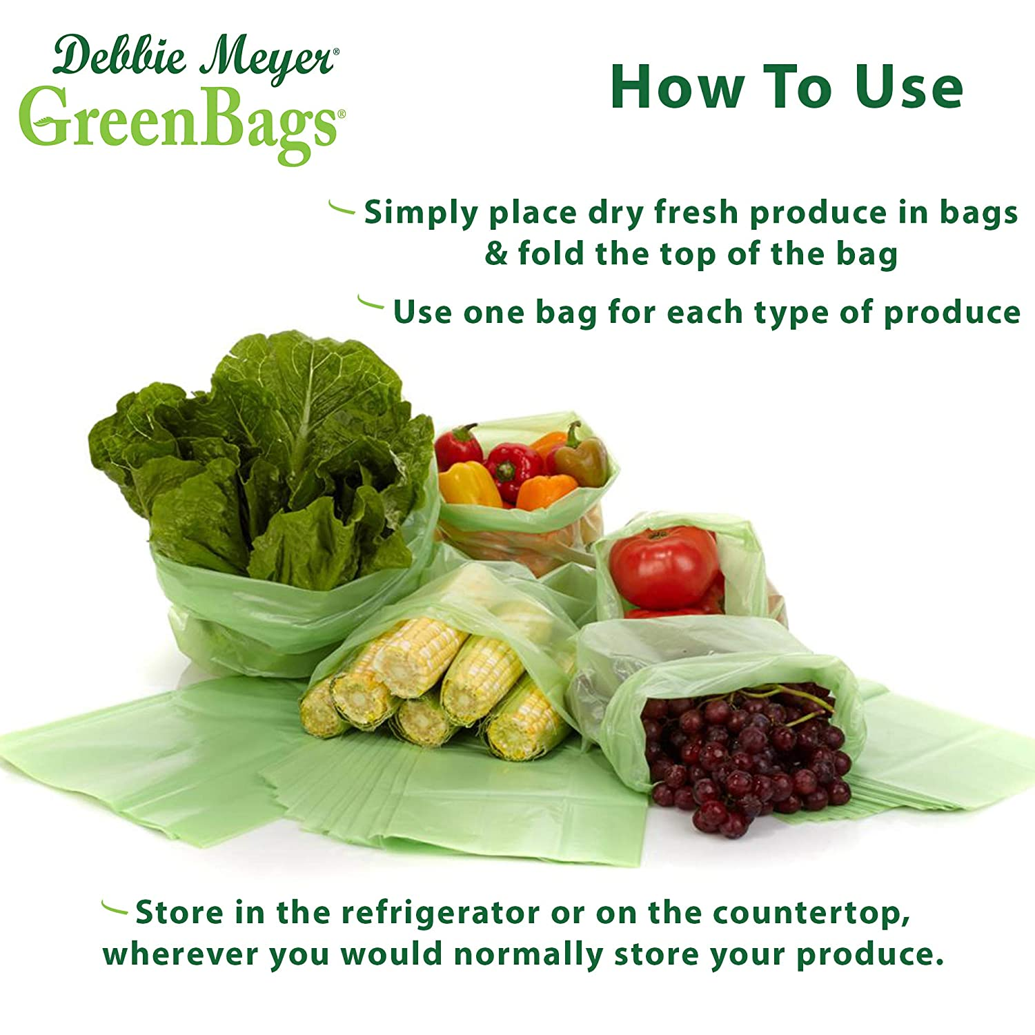 Debbie Meyer GreenBags - Reusable BPA Free Food Storage Bags, Keep Fruits and Vegetables Fresher Longer in these GreenBags! 20pc Set