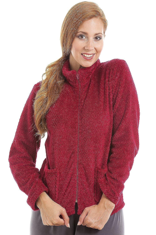 Camille Womens Zip Front Burgundy Soft Fleece Bed Jacket
