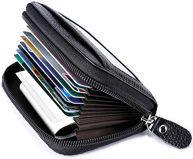 sale retailer a8b71 fbdf5 Leather Credit Card Holder Credit Card Wallet with Zipper Genuine Leather  Credit Card Protector RFID Small Zip Around Wallet
