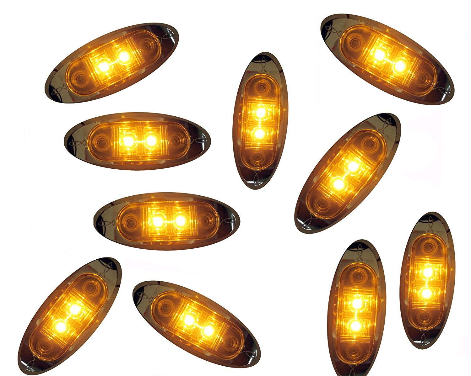 KT Pack of 10 Amber Oval LED Clearance Side Marker Light with Clear Lens Chrome Bezel for TRUCK TRAILER AutoSmart 2' 10KL-15114C-AE