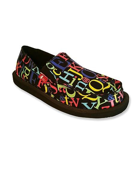 Mocasines de Hombre en Lona Negra con Estampado de Letras - Zapatillas de Lona para Hombre