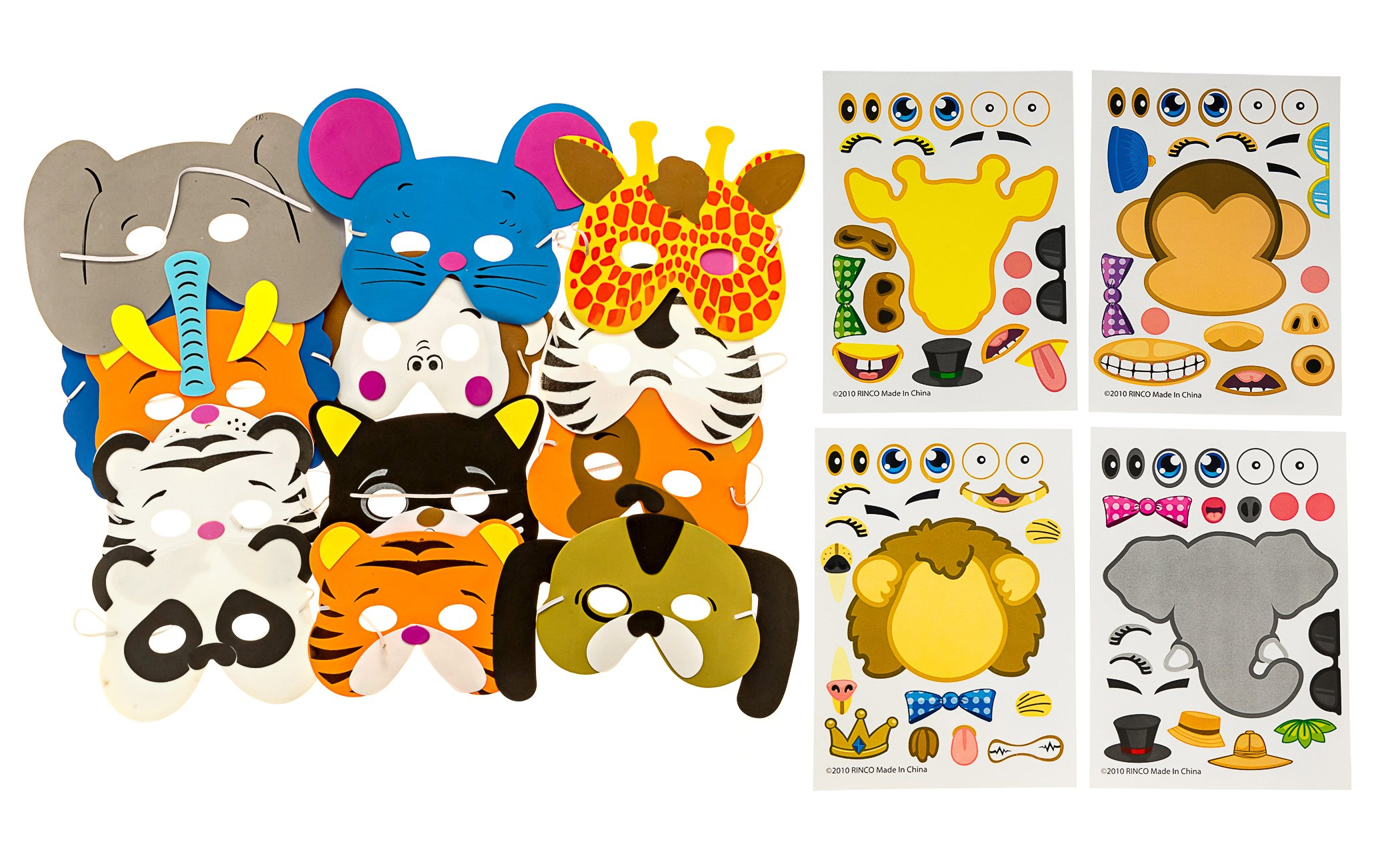 M & M Products Online 48 Piece Animal Sticker & Foam Mask Set: 24 Make-A-Zoo Sticker Sheets & 24 Assorted Form Animal Masks Value Party Favor Set - Great For A Zoo And Safari Theme Birthday Party