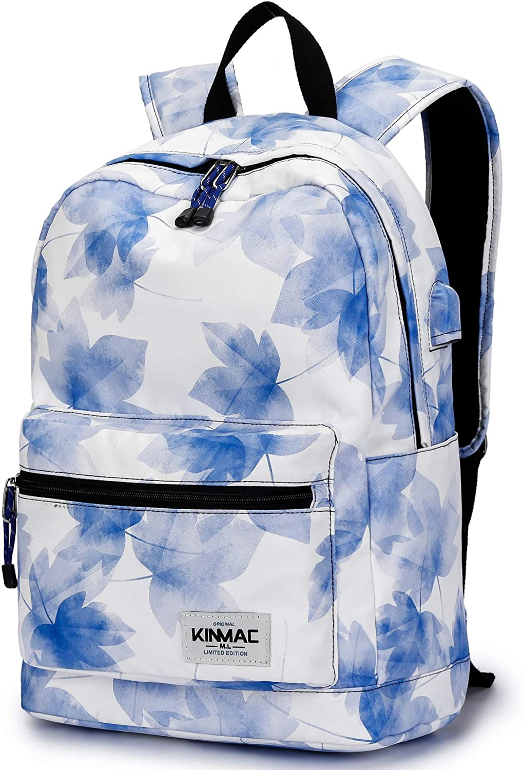 Kinmac New Design Waterproof Laptop Travel Outdoor Backpack with USB Charging Port for 13 inch 14 inch and 15.6 inch Laptop (Blue Maple)