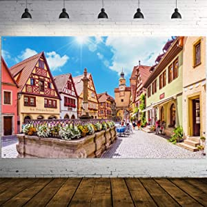 Oktoberfest Decorations, Extra Large Bavarian Street Scenery Sign Poster Oktoberfest Background Banner Photo Booth Backdrop with Rope Oktoberfest Party Supplies, 70.8 x 43.3 Inch