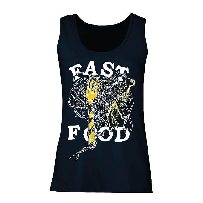 lepni.me Camisetas Sin Mangas para Mujer Comida Rápida - Eslogan Sobre el Diseño del Amante de La Comida Basura, Vegetariano/Vegano/Estilo de Vida ...