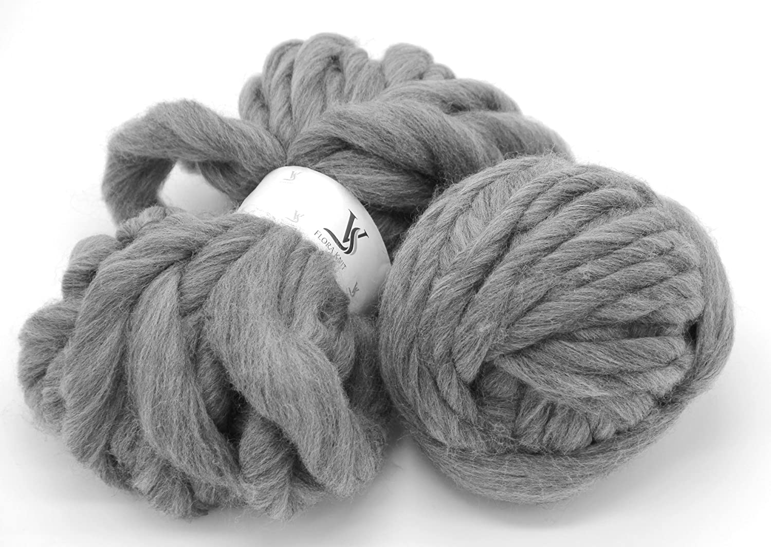 Merino Wool Big Chunky Yarn - Bulky Roving Yarn for Finger Knitting,Crocheting Felting,Making Rugs Blanket and Crafts by FLORAKNIT (Cream, Chunky-40mm-1.1LB) FLORAVOGUE BKY-1001-4CM-CREAM