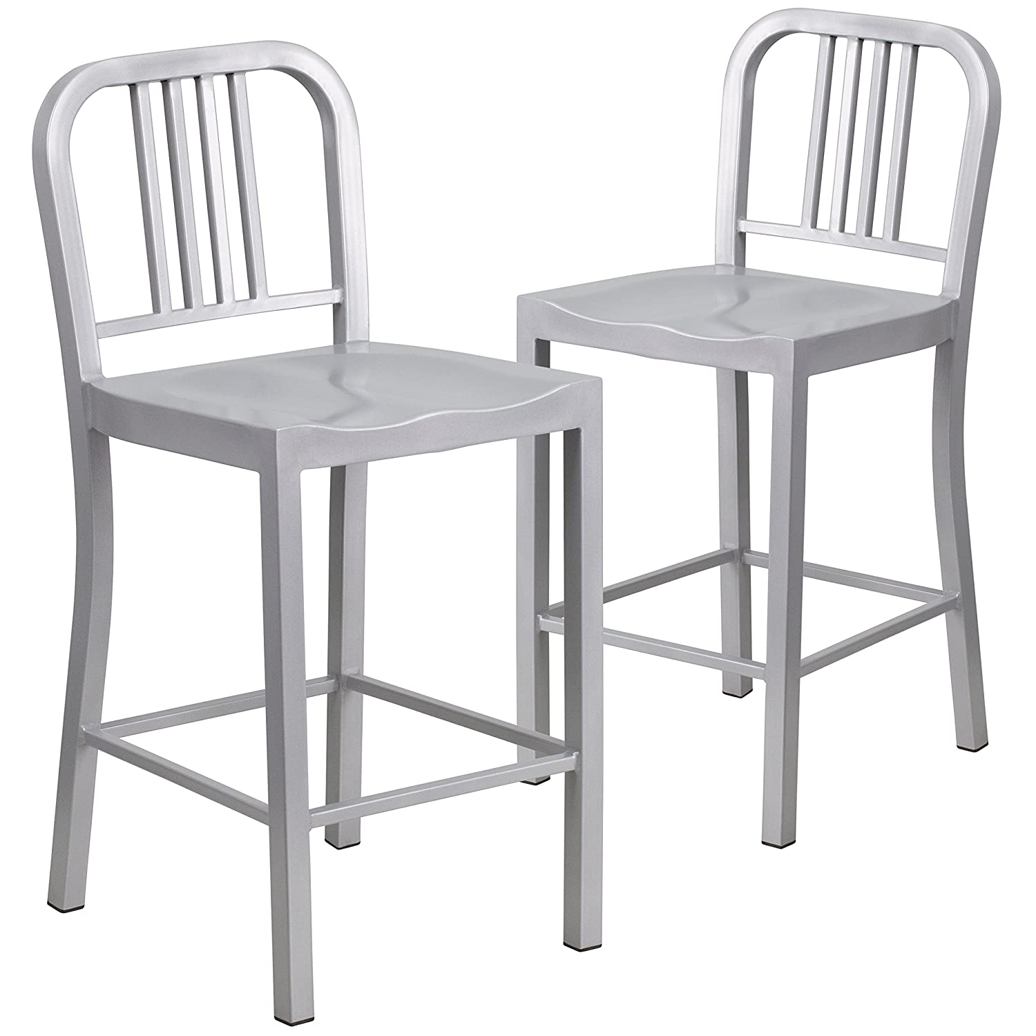 Amazon com flash furniture 2 pk 24 high silver metal indoor outdoor counter height stool kitchen dining