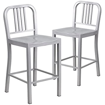 Superior Flash Furniture 2 Pk. 24u0027u0027 High Silver Metal Indoor Outdoor Counter Height