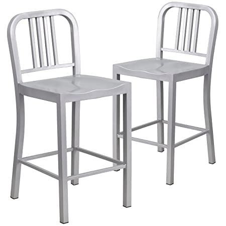 Flash Furniture 2 Pk. 24 High Silver Metal Indoor-Outdoor Counter Height Stool
