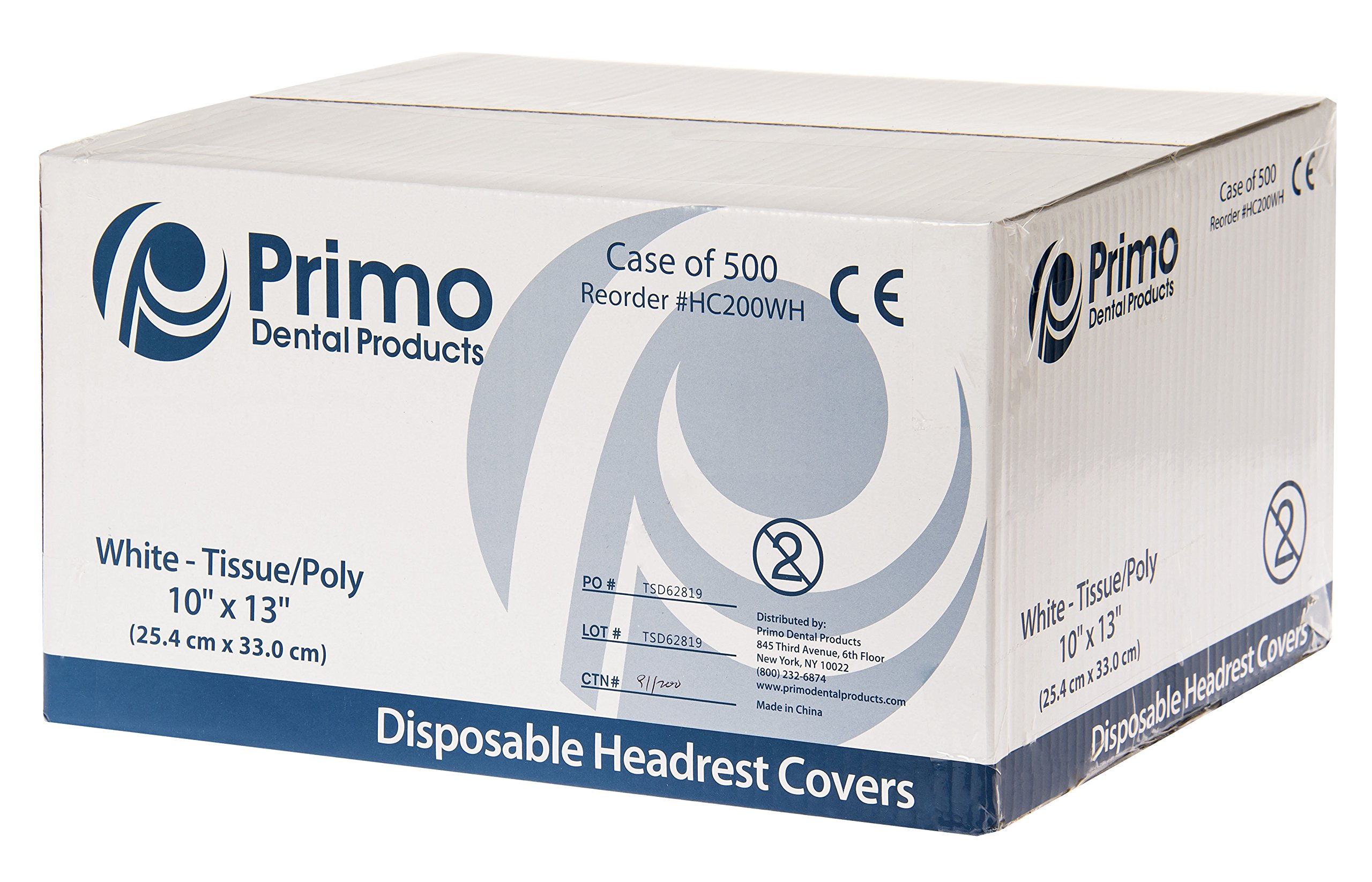 Primo Dental Products HC200WH Headrest Covers Paper Tissue Poly, 10'' x 13'', White (Pack of 500)