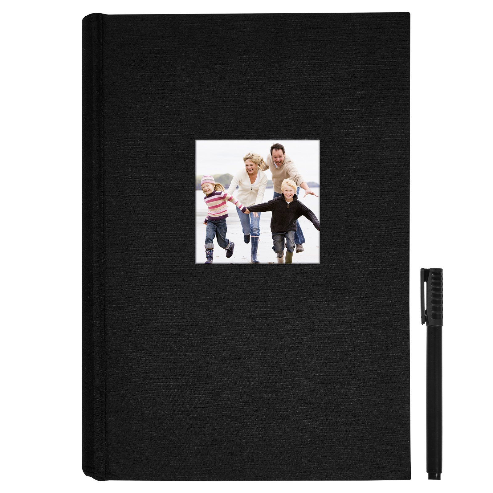 Americanflat Black Fabric Photo Album - Fits Photos Size 4x6 inches - Holds 300 Photos - Bonus Ultra-Fine Tip Pen Included