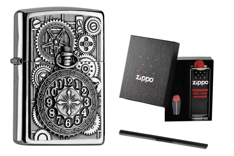 Zippo Pocket Watch 2004742 im Zippo Geschenkset + + + Stabfeuerzeug 1ec7e0