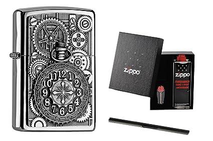 Zippo 2004742 Encendedor Set de Regalo Encendedor de Reloj de Bolsillo Diseño + lápiz