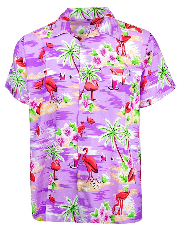 King Kameha Funky Camicia Hawaiana da Uomo | XS - 6XL | Maniche Corte | Tasca Frontale | Stampa Hawaiana | Fenicottero Palme