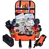 Lightning X Small First Responder EMT EMS Trauma Bag Stocked First Aid Fill Kit B (Fluorescent Orange)