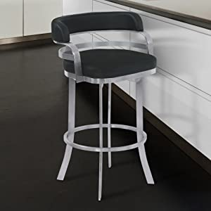 """Armen Living Prinz 26"""" Counter Height Swivel Barstool in Black Faux Leather and Brushed Stainless Steel Finish"""