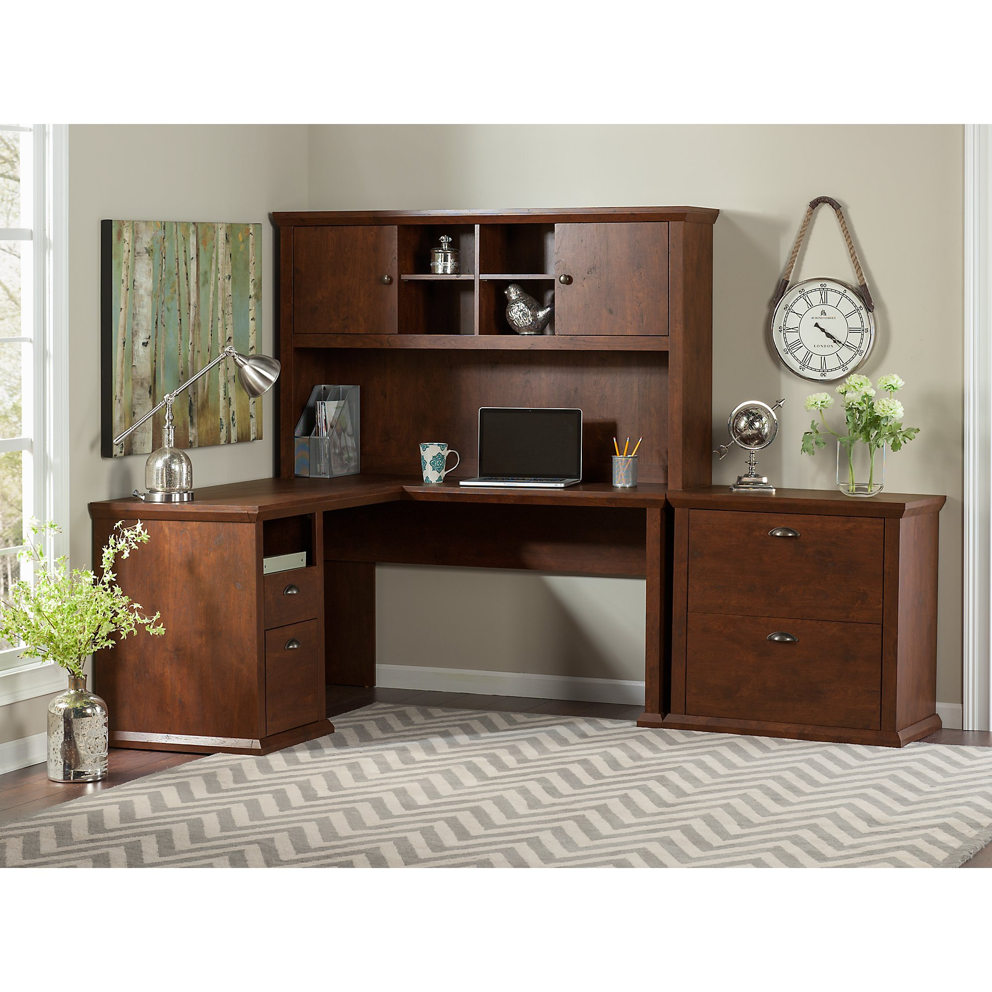 Yorktown L Shaped Desk with Hutch and Lateral File Cabinet