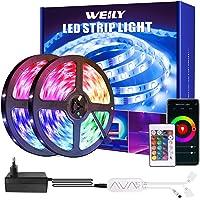 Weily Ledstrip, 15 m, wifi, RGB, met afstandsbediening, kleurverandering, SMD 5050 leds, sync voor muziek, compatibel…