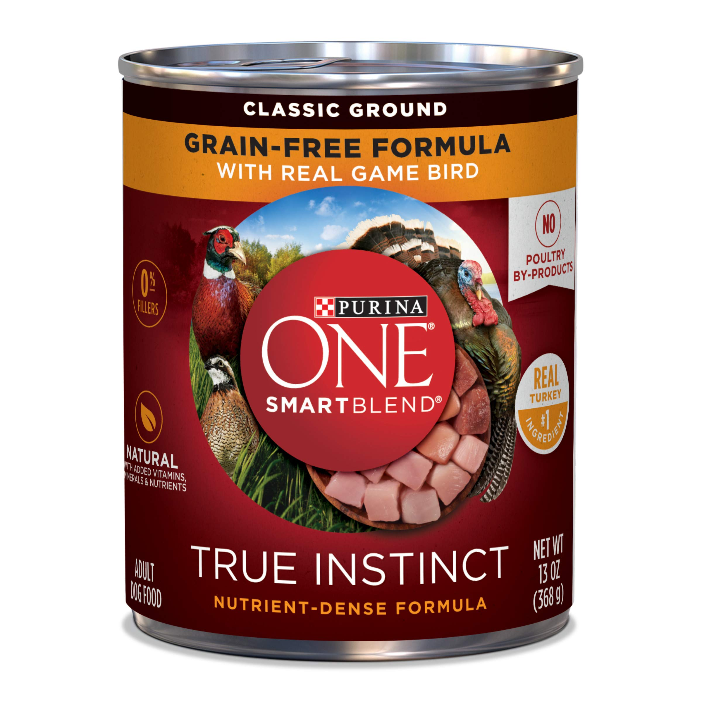 Purina ONE Grain Free, Natural Pate Wet Dog Food, SmartBlend True Instinct With Real Gamebird - (12) 13 oz. Cans by Purina ONE