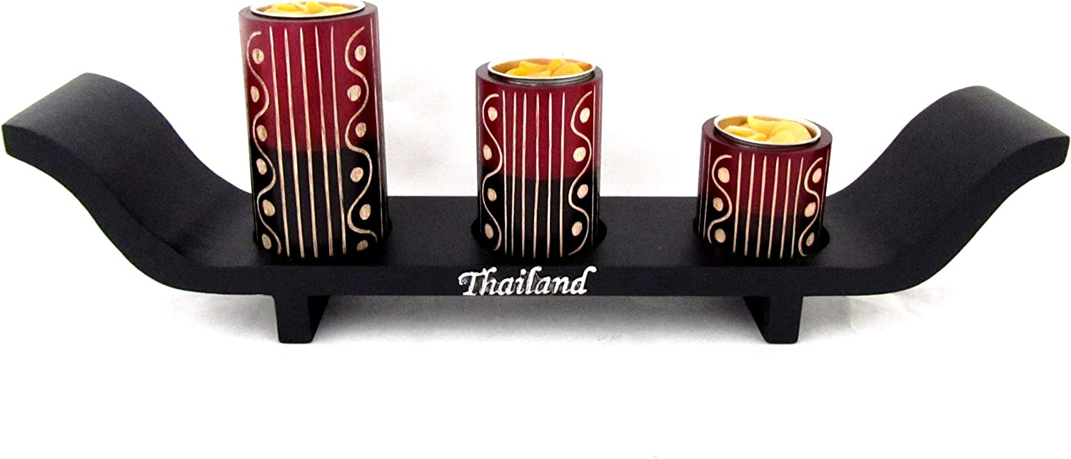 Amazon Com Blue Orchid Long Candle Holder For Table Centerpiece Set 3 Wood Tealight Thai Decor Royal Boat Black Wave Home Kitchen