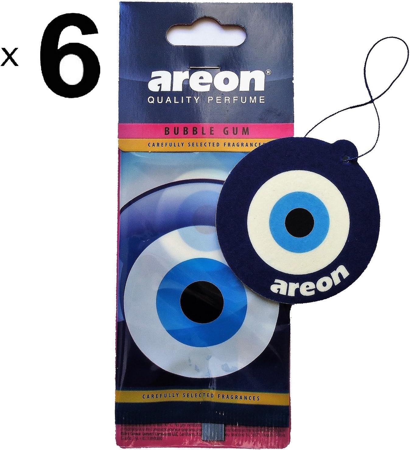 Areon D/ésodorisant Voiture Bubble Gum Oeil Bleu Mignon Maison Bureau Forme Oriental Nazar Amulette R/étroviseur/ 2D Bubblegum Blue Eye Lot de 6
