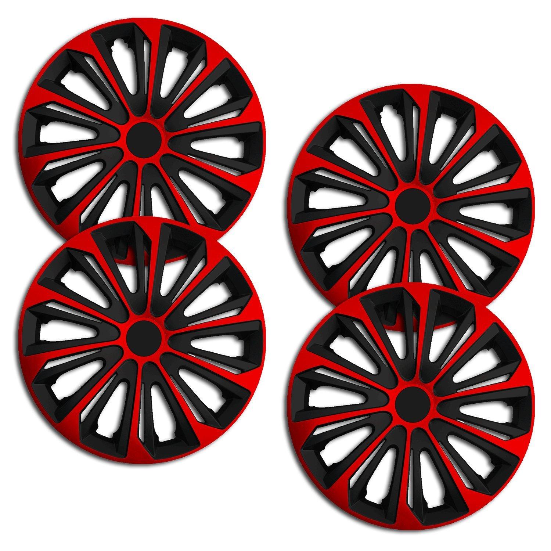 Schwarz-Rot Radkappen//Radzierblenden 4 St/ück 15 Zoll RKK06 Multi-Color Line