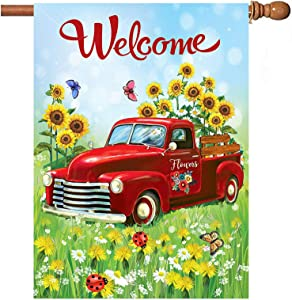 Welcome Flower Truck Garden Flag 18x24 inch Spring Old Car Daisy Sunflower Double Sided Decorative House Yard Flags for Spring Summer Garden Yard Outdoor Indoor Lawn Farmhouse Outside Decoration