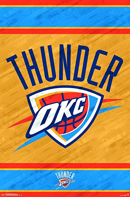 Fantastic Trends International Oklahoma City Thunder Logo Wall Poster 22 375 X 34 Interior Design Ideas Clesiryabchikinfo