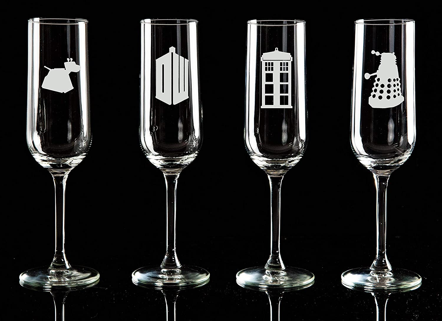 Doctor Who Etched Shot Glasses Set of 4 matching Wine Glasses and Beer Glasses Available birthday and Christmas gifts Ideal for weddings