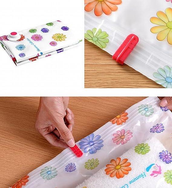 roseamor diseño de flores paquetes de bolsas de ahorro de espacio de almacenamiento al vacío de compresión para ropa, funda de edredón, manta, toalla de ...