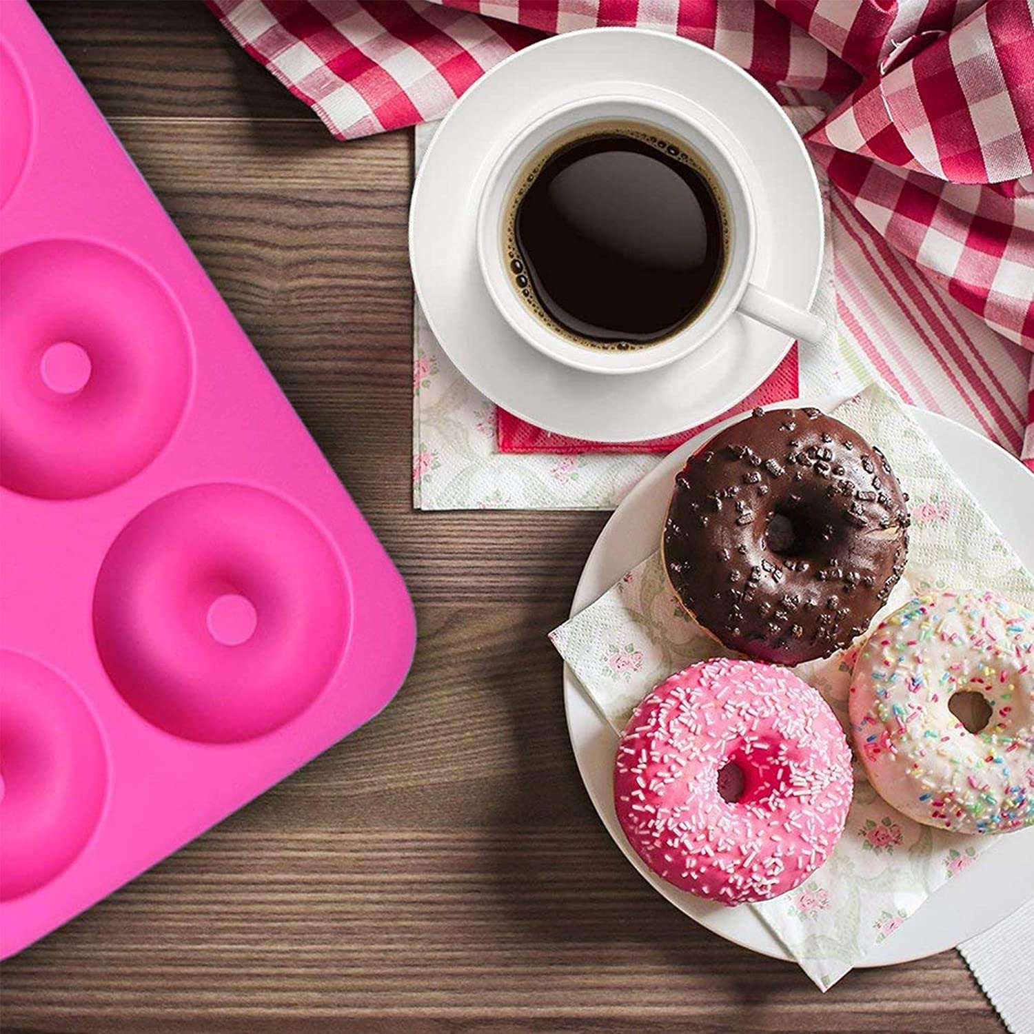 3Pack Silicone Donut Pan Molds Pastry Basting Brush,Simuer Non-Stick 6-Cavity Baking Moulds Bake Doughnuts Muffin Cups Cake Baking Ring Biscuit Mold Dishwasher Oven Microwave Freezer Safe