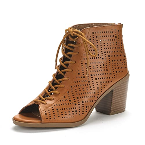593841654 DREAM PAIRS Women's Egypt Tan Pu Mid Heel Ankle Bootie Shoes - 5 ...