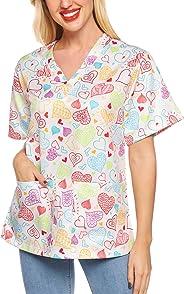 SATINIOR Women Valentine Scrub Top V Neck Heart Printed Nursing Top Shirt with Pockets