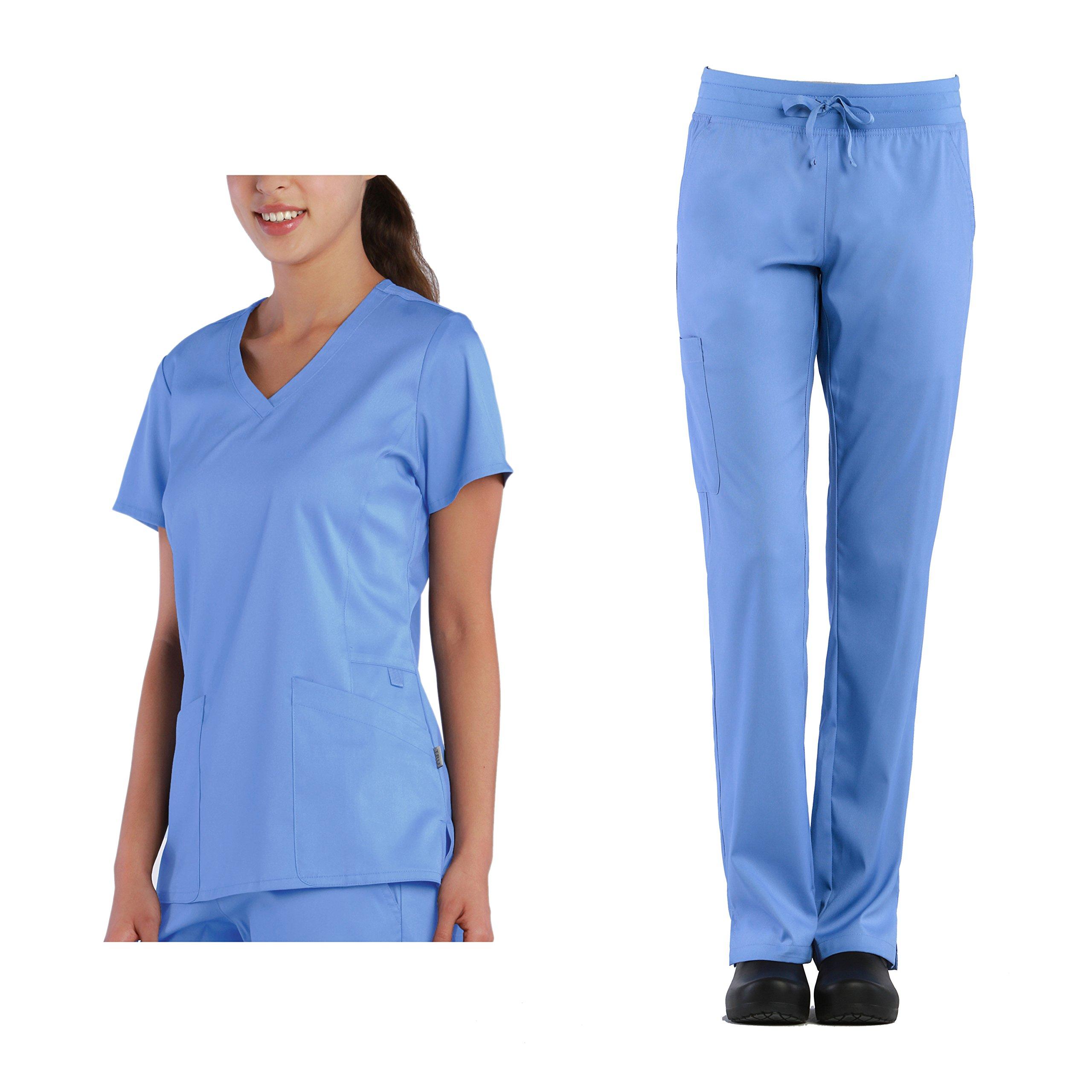 Tru Scrubs Soft Ladies Curved V-Neck Top & Yoga Style Cargo Pant Scrub Set (XXX-Large, Ceil Blue)