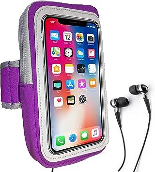 Brazalete Deportivo Sweatproof Correr Armbag Gym Fitness Estuche para teléfono Celular con Llave Holder Ranura para Tarjeta Wallet para iPhoneX 8 7 Plus 6s Y más 5.5 Inch (Purple): Amazon.es: Electrónica