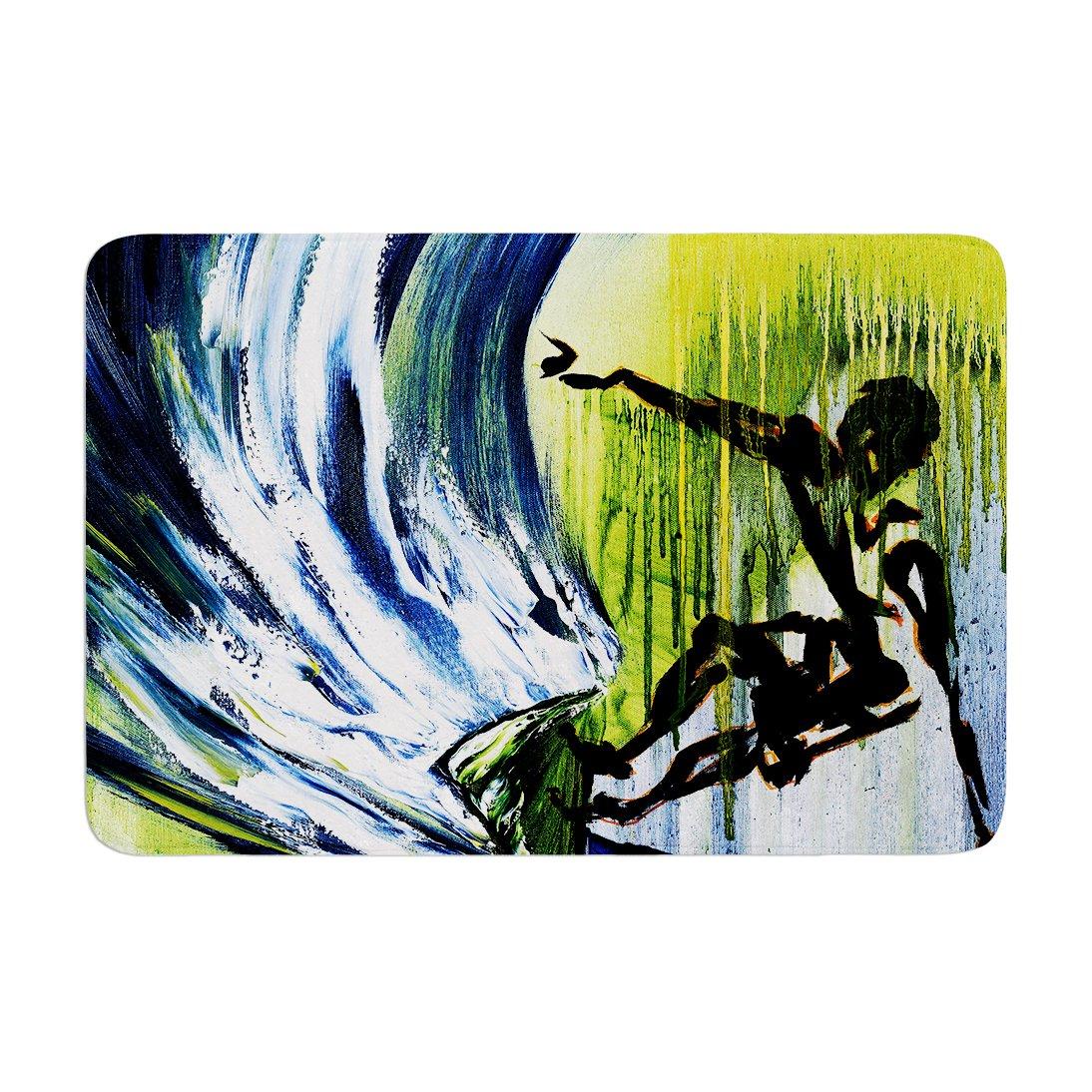Kess InHouse Josh Serafin Greenroom Green Surfer Memory Foam Bath Mat 17 by 24